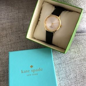 Kate Spade Metro Gold and Black Leather Watch